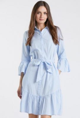 Koszulowa sukienka z falbanami