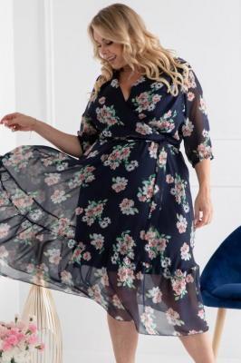 Sukienka zwiewna szyfonowa GERARDA kolorowe kwiatki na granacie