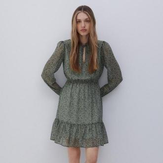 Reserved - Wzorzysta sukienka mini - Zielony