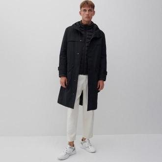 Reserved - Długi płaszcz z kapturem - Czarny
