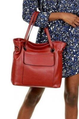 JULIA MARCO MAZZINI Włoska torebka skórzana worek sacco glamour czerwona roiboos