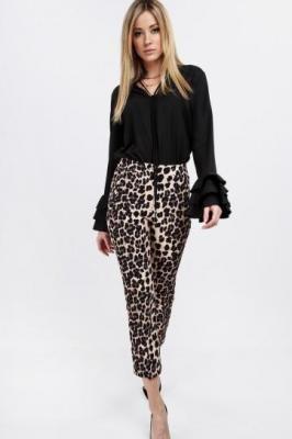 Spodnie damskie cygaretki animal print na co dzień beżowe 0240