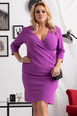 Sukienka kopertowa ołówkowa ALANA drapowanie talii fioletowa PROMOCJA