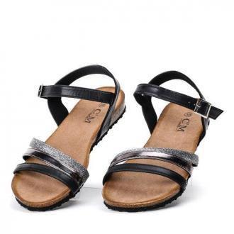 Czarne sandały na płaskiej podeszwie Soft Sparkle - Obuwie