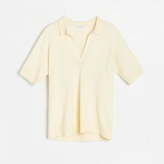 Reserved - Dzianinowa bluzka z kołnierzykiem - Żółty