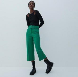Reserved - Eleganckie spodnie z paskiem - Zielony