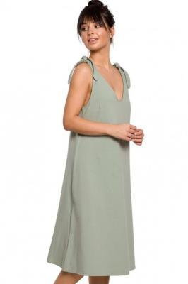 Bawełniana trapezowa sukienka oversize na ramiączkach na lato