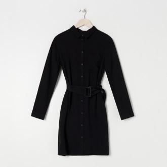 Sinsay - Sukienka z paskiem - Czarny
