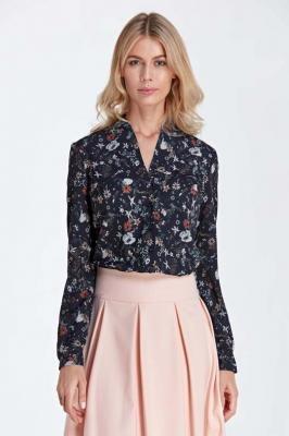 Elegancka Koszulowa Bluzka z Dekoltem w Szpic - Wzór Ecru