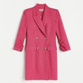 Reserved - Sukienka o kroju marynarki - Różowy