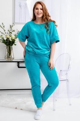 Komplet dresowy welurowy KASIA spodnie i bluza turkusowy