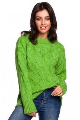 Zielony Ciepły Sweter z Półgolfem w Warkocze
