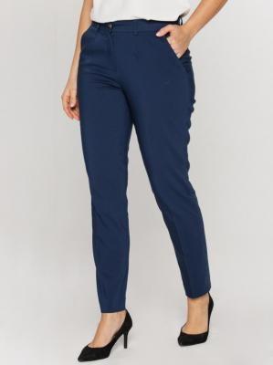 Granatowe spodnie w kant ze zwężanymi nogawkami Bialcon
