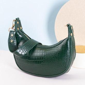 Zielona torebka na ramię a'la bagietka - Torebki