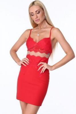 Sukienka w bieliźnianym stylu czerwona ZZ303