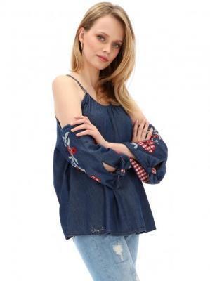 Jeansowa bluzka z ozdobnymi rękawami Desigual UMA