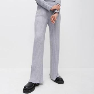Reserved - PREMIUM Szerokie spodnie z wełną merino - Jasny szary
