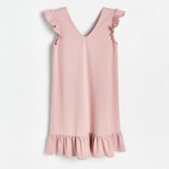 Reserved - Sukienka z falbanami - Różowy