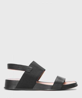 Czarne skórzane sandały damskie
