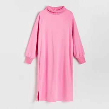 Reserved - Dzianinowa sukienka midi - Różowy