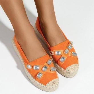 Pomarańczowe damskie espadryle na platformie z kryształkami Erilla - Obuwie