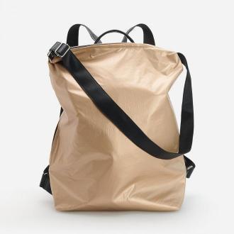 Reserved - Plecak torba z błyszczącego materiału - Beżowy