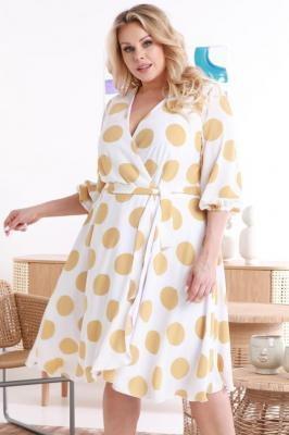 A Sukienka modna wizytowa szyfonowa kopertowa NATALY biała w beżowe grochy PROMOCJA