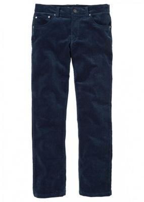 Spodnie sztruksowe Regular Fit Straight bonprix ciemnoniebieski
