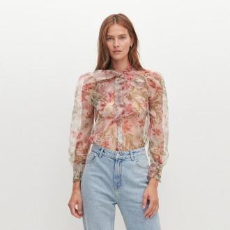 Reserved - Transparentna bluzka w kwiaty - Wielobarwny