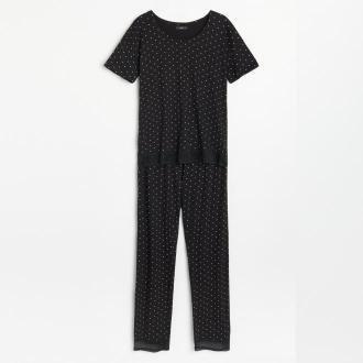 Reserved - Piżama ze spodniami w kropki - Czarny