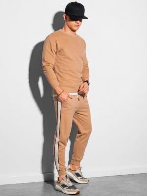 Komplet męski bluza + spodnie Z26 - jasnobrązowy - XXL