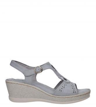 Szare sandały ażurowe na koturnie