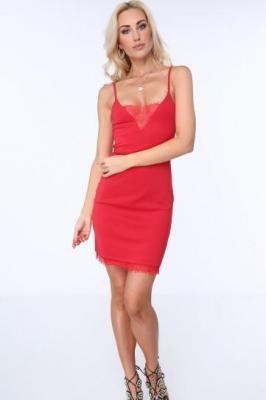 Sukienka z delikatną koronką czerwona ZZ300