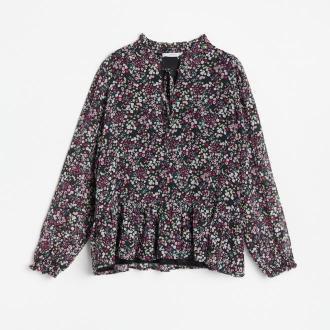 Reserved - Wzorzysta bluzka z wiązanym dekoltem - Czarny