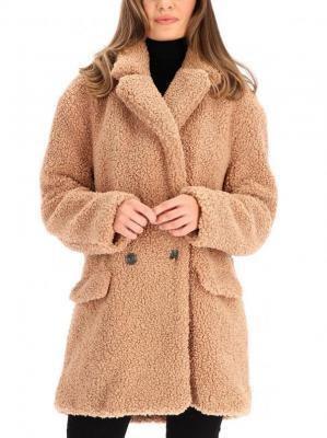 Krótki beżowy płaszcz pluszowy PIEN.700W19 Rino & Pelle
