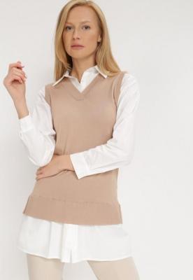 Biało-Beżowa Koszula Z Kamizelką Hiqinn