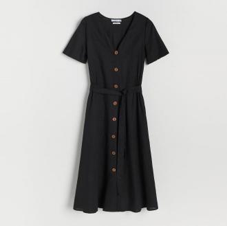 Reserved - Sukienka z wiskozy i lnu - Czarny
