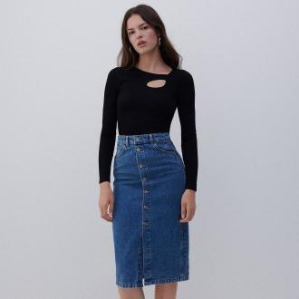 Reserved - Denimowa spódnica midi - Niebieski