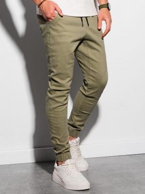 Spodnie męskie joggery P885 - oliwkowe - S
