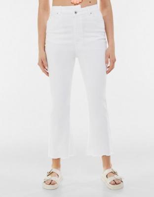 Bershka Krótkie Jeansowe Dzwony Kobieta 34 Biały