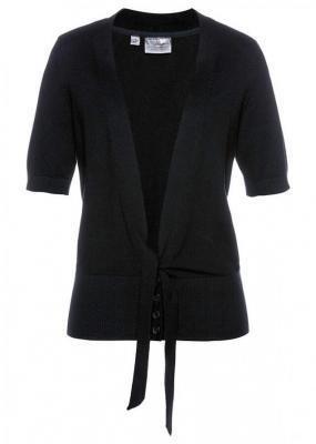 Sweter rozpinany z ozdobnym przewiązaniem bonprix Sweter roz z przew czarny