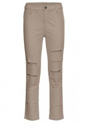 Spodnie 7/8 z wysoką talią i rozcięciami po bokach bonprix brunatny