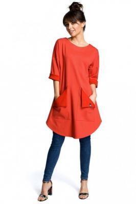 Czerwona Codzienna Trapezowa Sukienka Tunika z Kieszeniami