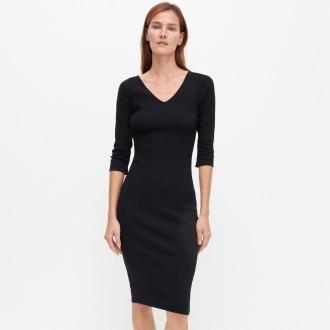 Reserved - Dopasowana sukienka z bawełny organicznej - Czarny
