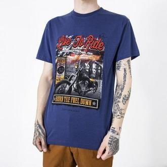 Ciemnoniebieski bawełniany męski t-shirt z kolorowym nadrukiem - Odzież