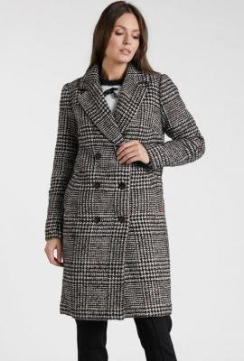Wełniany płaszcz w kratę
