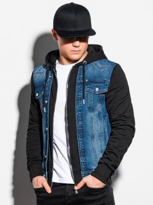Kurtka męska jeansowa C322 - jeans/czarna - XXL