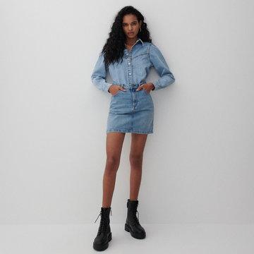 Reserved - Denimowa spódnica mini - Niebieski