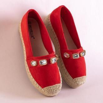 Czerwone damskie espadryle na platformie z kryształkami Fenenna - Obuwie