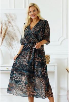 Sukienka maxi z kopertowym dekoltem w brązowo-butelkowy wzór - ADELA